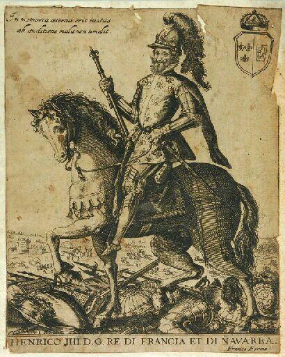 с.1595-1600.Henrico IIII D.G.Re di Francia et di Navarra (titre d'origine); Henri IV Roy de France et de Navarre (titre traduit)estampe.FRANCO Giacomo .Италия.cm 21.4х17.musée national du château de Pau.