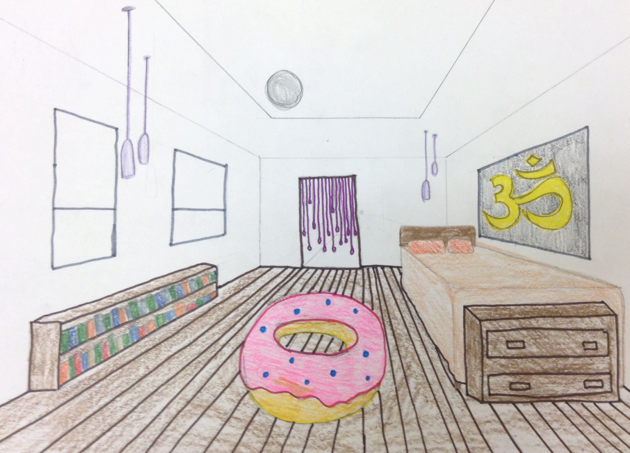 9 - Colored Pencil - One Point Perspective