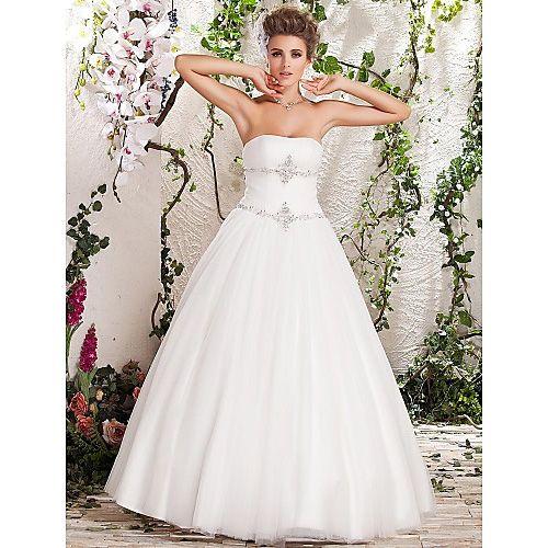A-line Princess Strapless Floor-length Tulle Satin Wedding Dress  http://www.dressesinn.com/aline-princess-strapless-floorlength-tulle-satin-wedding-dress-p-5544.html