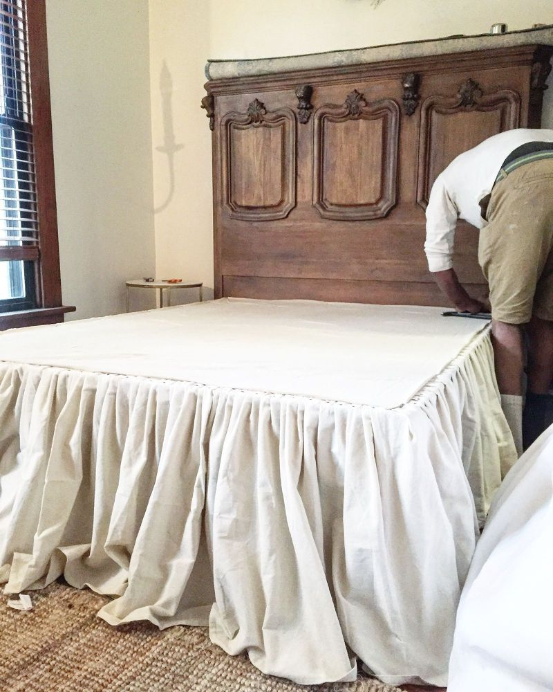 Diy No Sew Drop Cloth Bed Skirt In 2019 Remodel