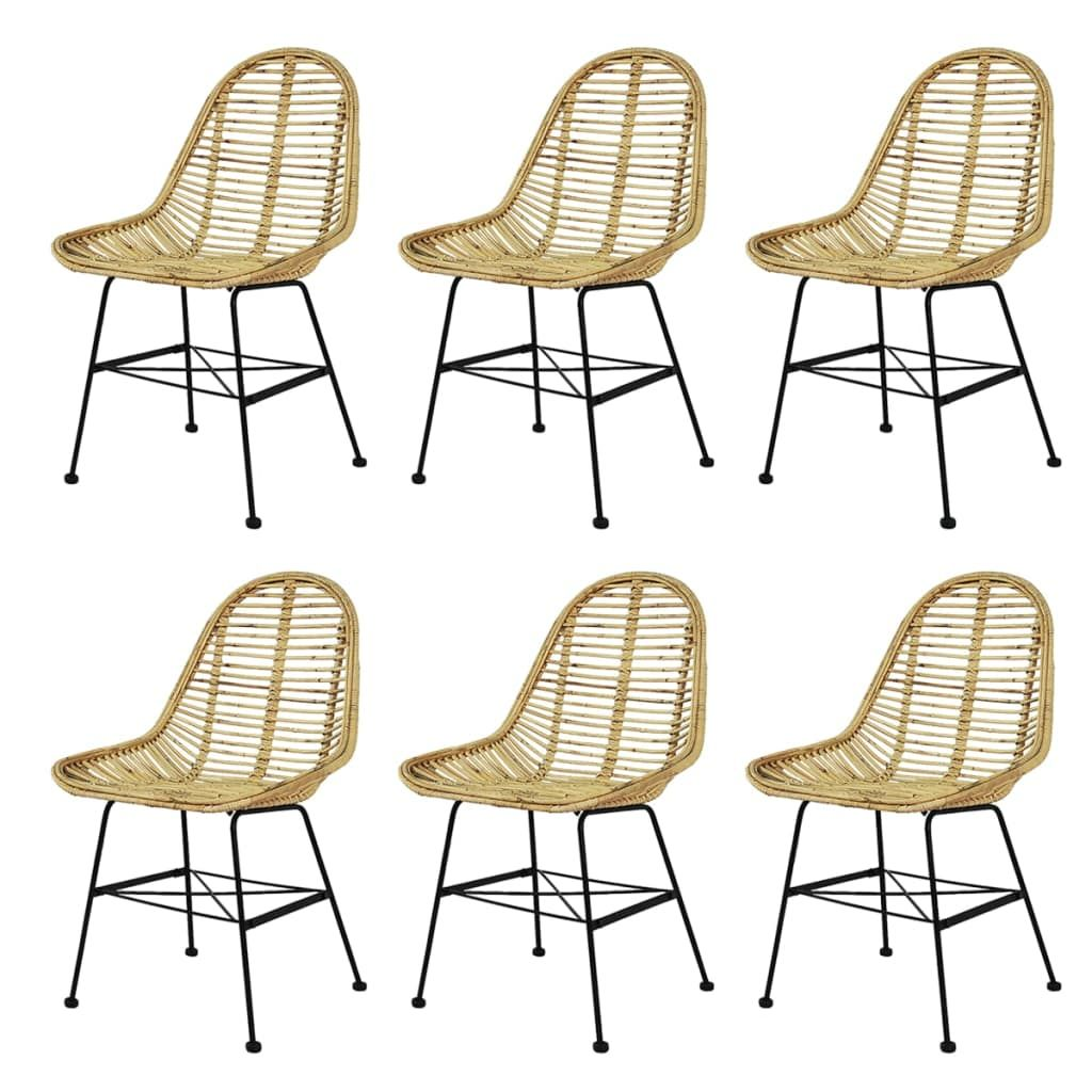vidaXL 2/4/6x Dining Chair Natural Rattan Wicker Colonial Kitchen Beige/Black - Beige / 6