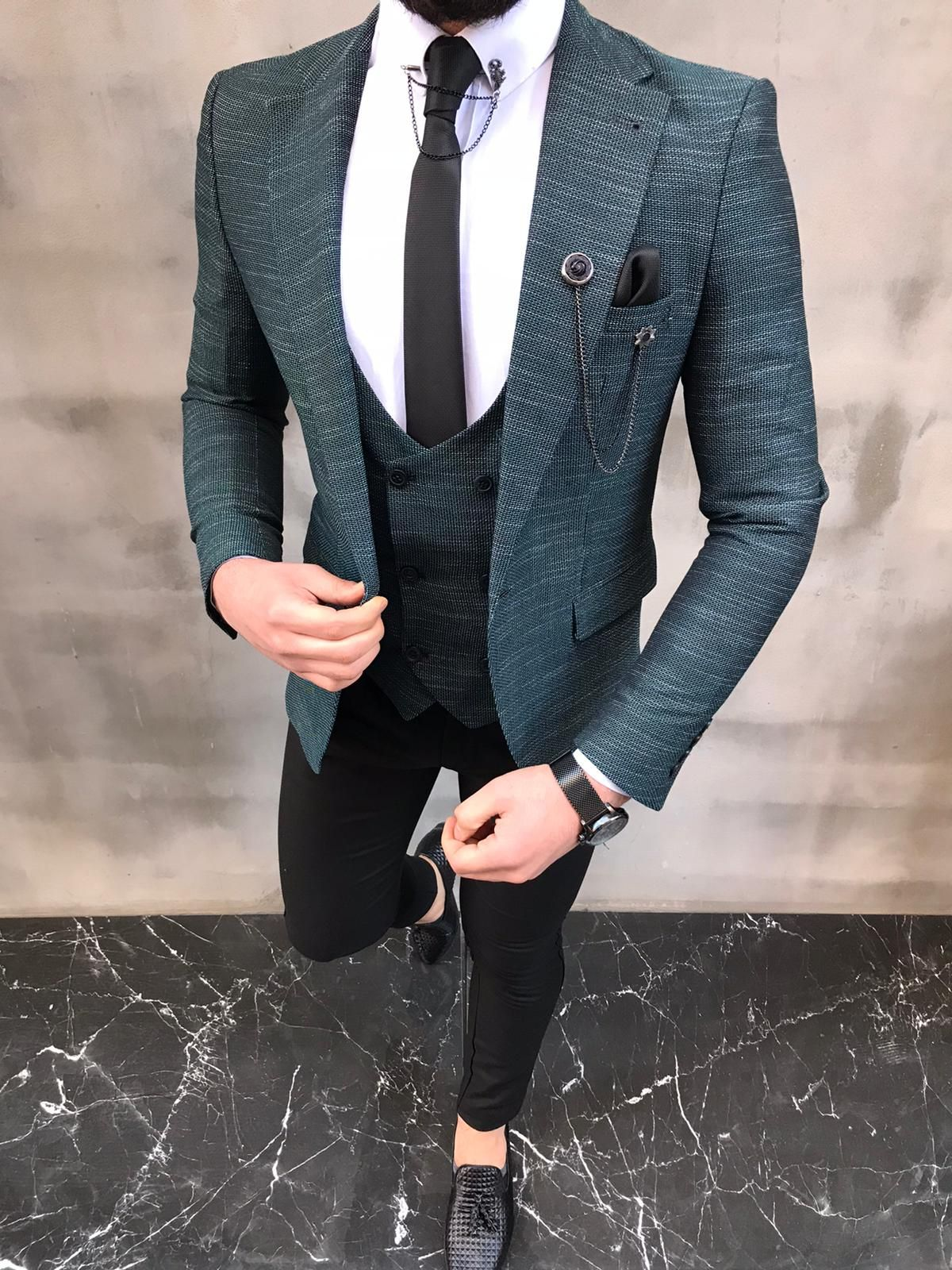 Sedona Green Slim Fit Crosshatch Suit Bespoke Daily In 2020 Fashion Suits For Men Mens Fashion Suits Smart Casual Menswear