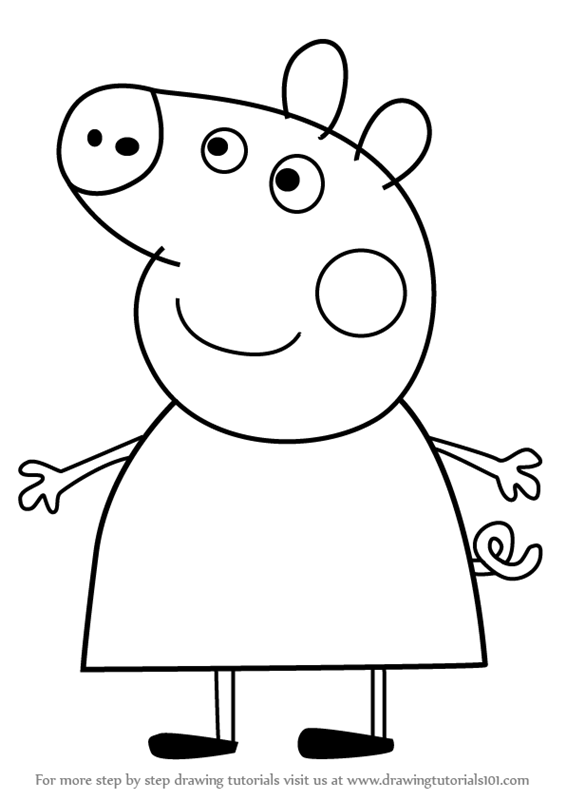 How To Draw Mummy Pig From Peppa Pig Drawingtutorials101 Com In