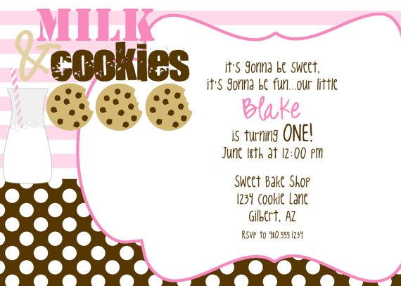MILK AND COOKIES printable birthday party invite by Fresh Chick - fresh birthday party invitation designs