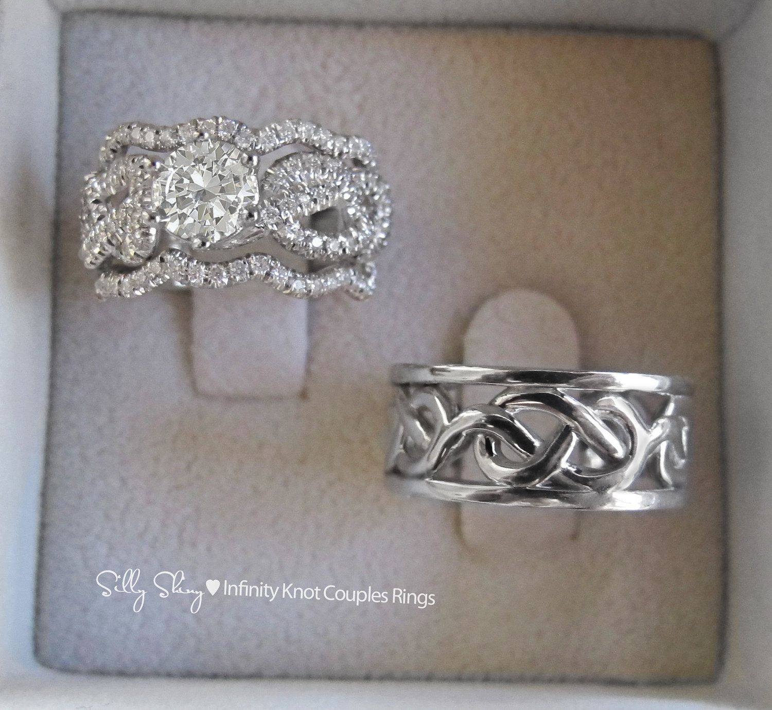 Couples Infinity Knot Wedding Bands Set Engagement Ring With