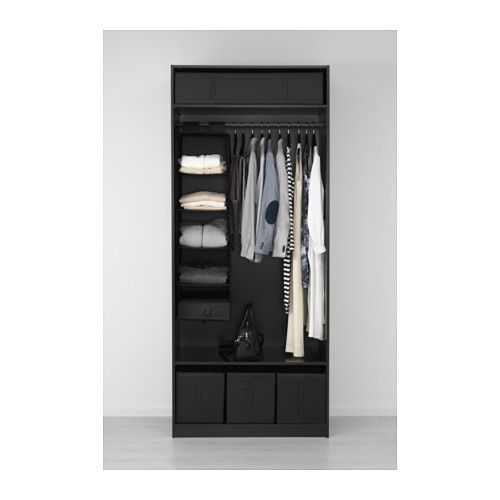 Guardaroba Pax Ballstad Ikea.Wardrobe Pax Black Brown Ballstad White Bedroom Pax Wardrobe