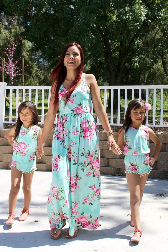 ba6ccbd983874 Adorable Spring mommy and me maxi, romper mother daughter, matching ...