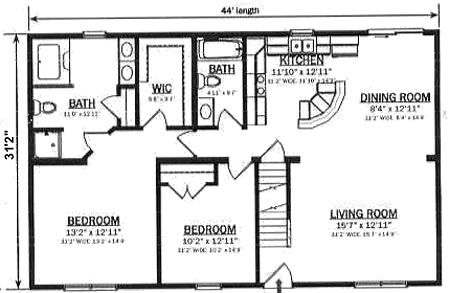 C137122 1 by hallmark homes cape cod floorplan for Cape cod modular home floor plans