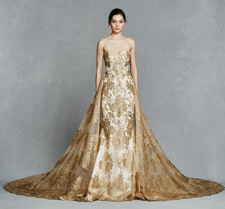 Swooning over this gold wedding dress by Kelly Faetanini | Gold ...