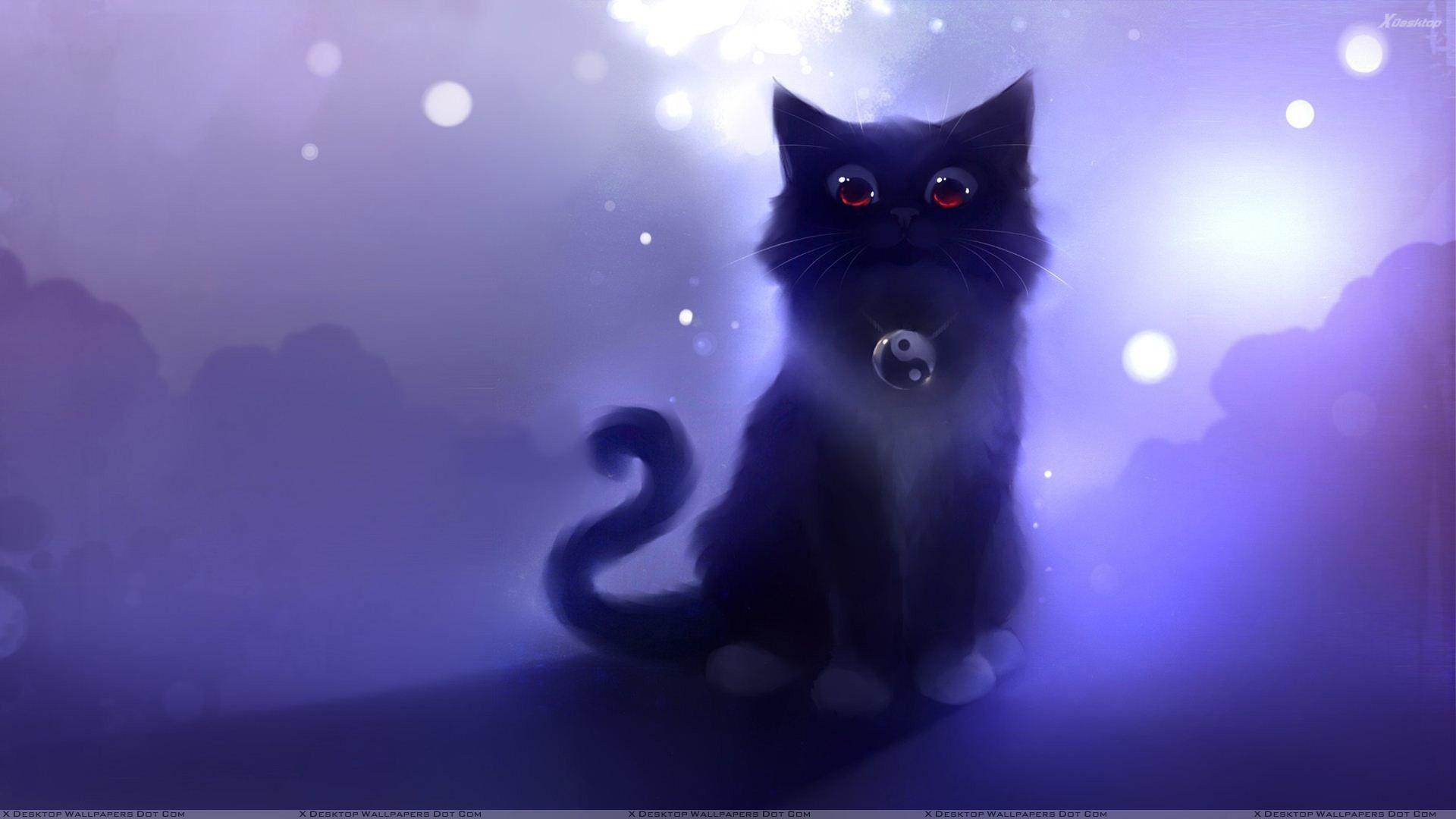 1920x1080 Cartoon Black Cat Sitting Wallpaper Cute Anime Cat