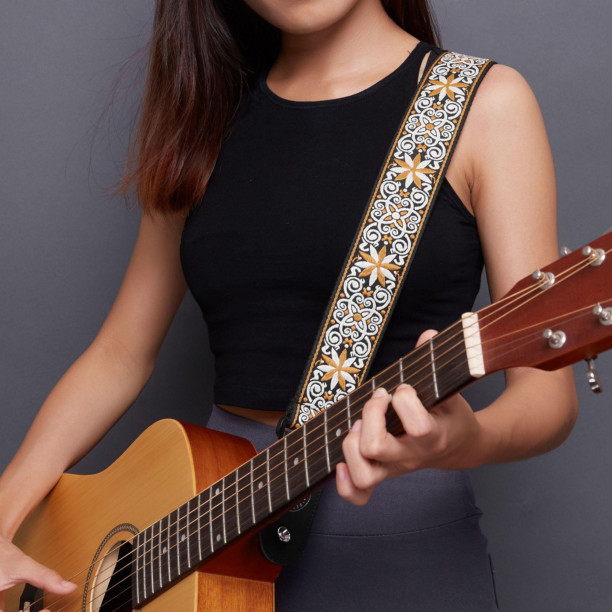 Amumu Vintage Guitar Straps Fit Electric Guitar Bass Acoustic Guitar Guitar Strap Vintage Guitar Guitar Strap
