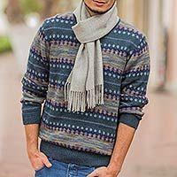 Men's 100% alpaca sweater, 'Cajamarca Blues' - Men's Patterned ...