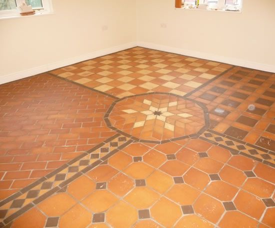 Terracotta floor tile next to the door and under the for Wood floor next to tile