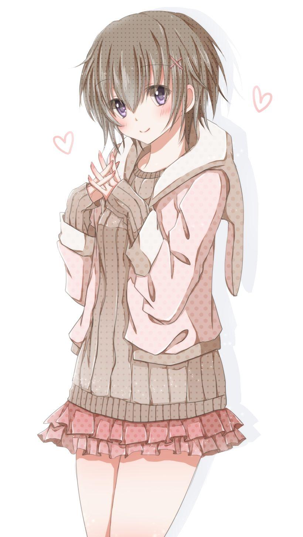 Anime Girl with brown hair, short hair, purple eyes