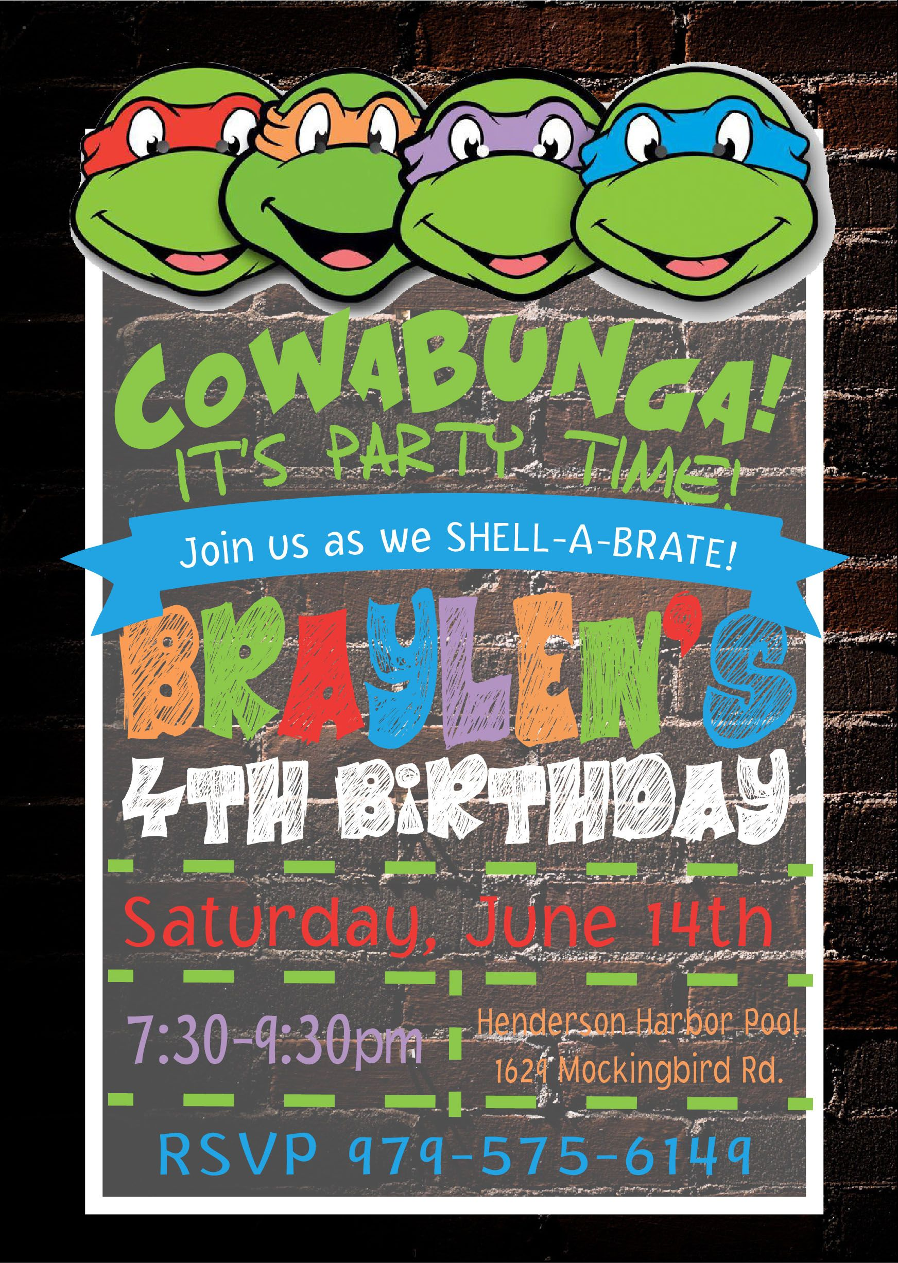 Teenage Mutant Ninja Turtles Invitation Corbin Pinterest