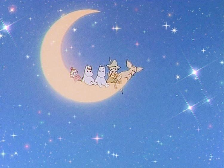 Fly Me To The Moon Aesthetic Moominvalley Franksinatra Glitter Snow In 2020 Baby Blue Aesthetic Art Wallpaper Iphone Moomin Wallpaper