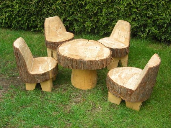 Children S Garden Furniture Set No Need For Legs On The Chairs Just Have The Bas Wooden Garden Furniture Childrens Garden Furniture Natural Outdoor Furniture