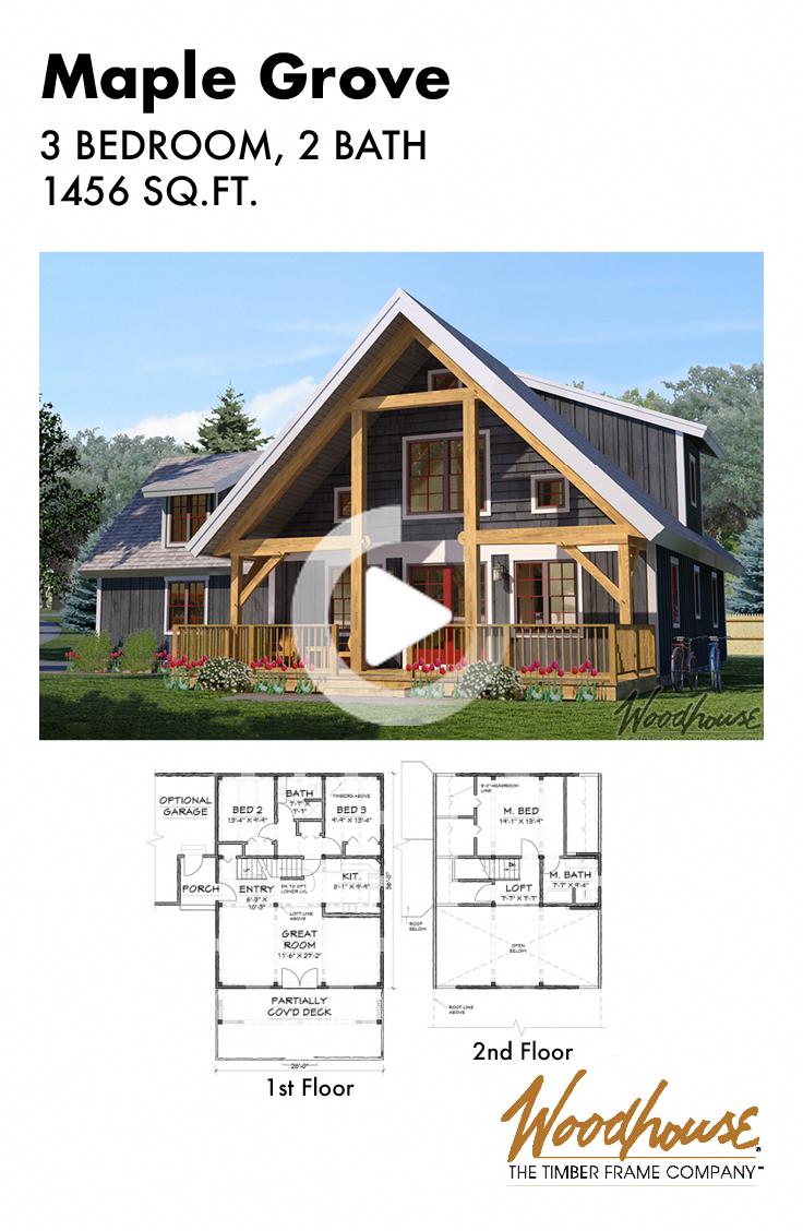 Ce Magnifique 3 Chambres D Un Plan De Maison Ossature Bois 2 Salles De Bains Avec Un Loft Disp Timber Frame Home Plans Cabin Plans With Loft Cabin Floor Plans