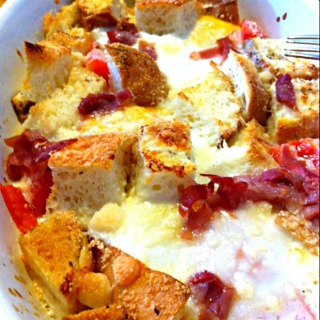 バケットの端っこ、卵、牛乳、チーズ、生ハムの切れ端、トマトをオーブンで焼くだけの手抜き料理(笑) - 77件のもぐもぐ - かんたん、アクアコッタ! by Chef 中川浩行