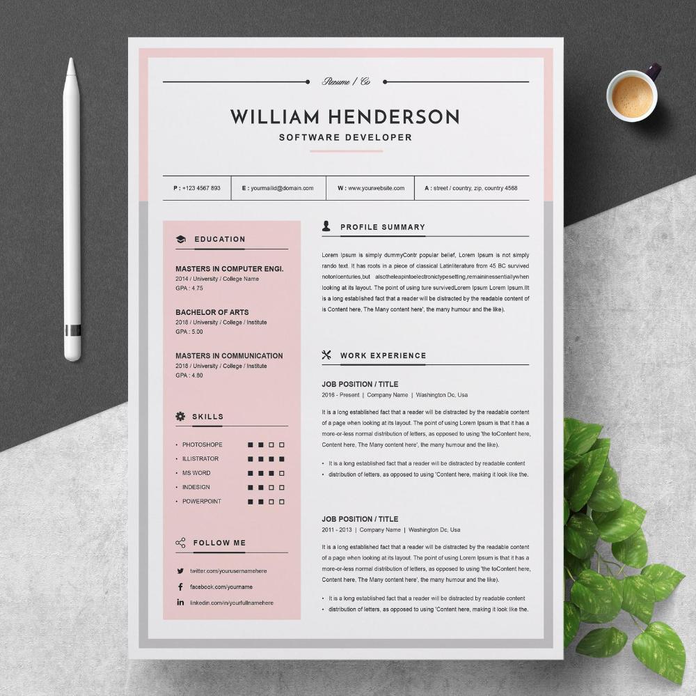 Modern Resume, Resume Design Template