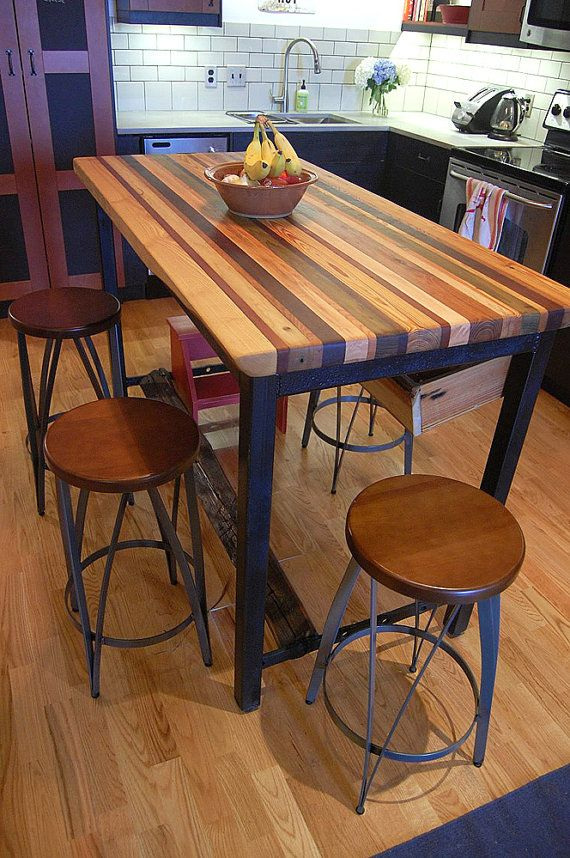 Fifth Furniture Greenwich Kitchen Island With Butcher Block Top : Butcher Block Kitchen Island with Industrial Base and Wine Rack Kitchen Islands Butcher ...