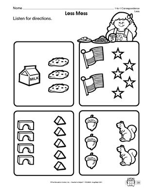 Results for kindergarten math worksheets more and less