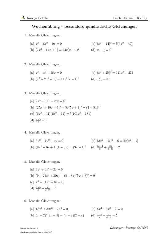 Wochenübung - besondere quadratische Gleichungen Aufgaben mit