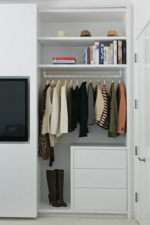 LA Closet Design: Simple Closet System With Contemporary, White Drawers And  Floating Shelving.