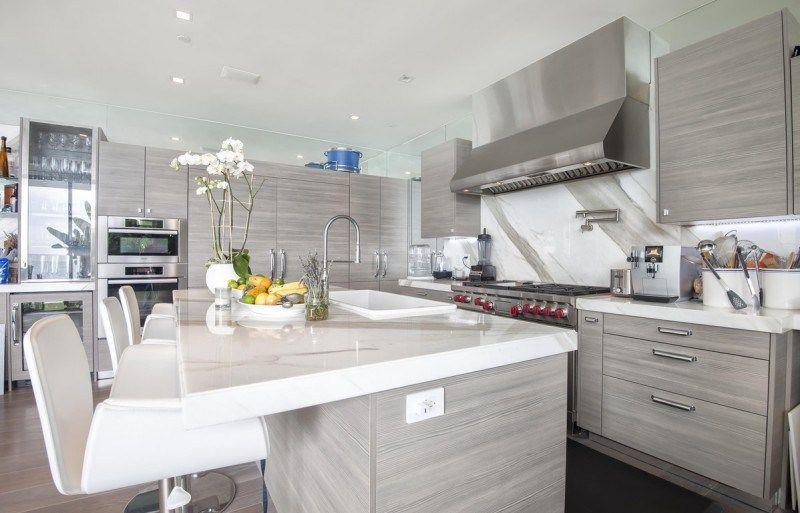 Malibu Modern Beach House Multi Million Dollar Listing Grey Kitchen Interior Inspiration