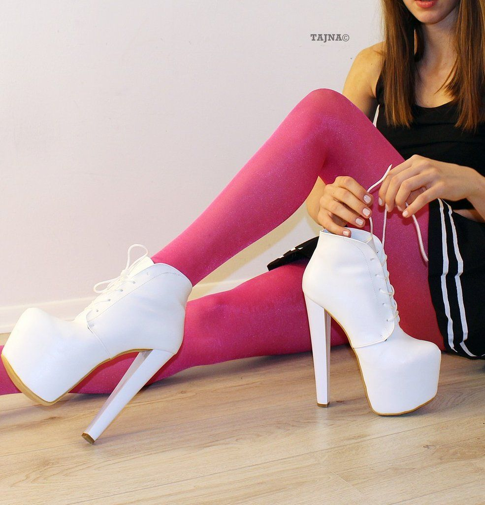 96d21717fc7 Lace Up White High Heel Platform Ankle Booties