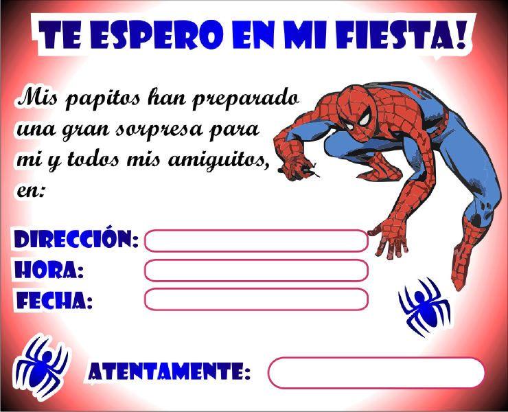 imajenes de spiderman para fiesta para imprimir | Tarjeta y Sobre de ...