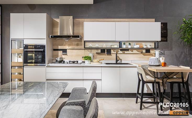 White Melamine Line Shaped Kitchens Plcc20105 Kitchen Design Bathroom Cabinets Designs High Gloss Kitchen