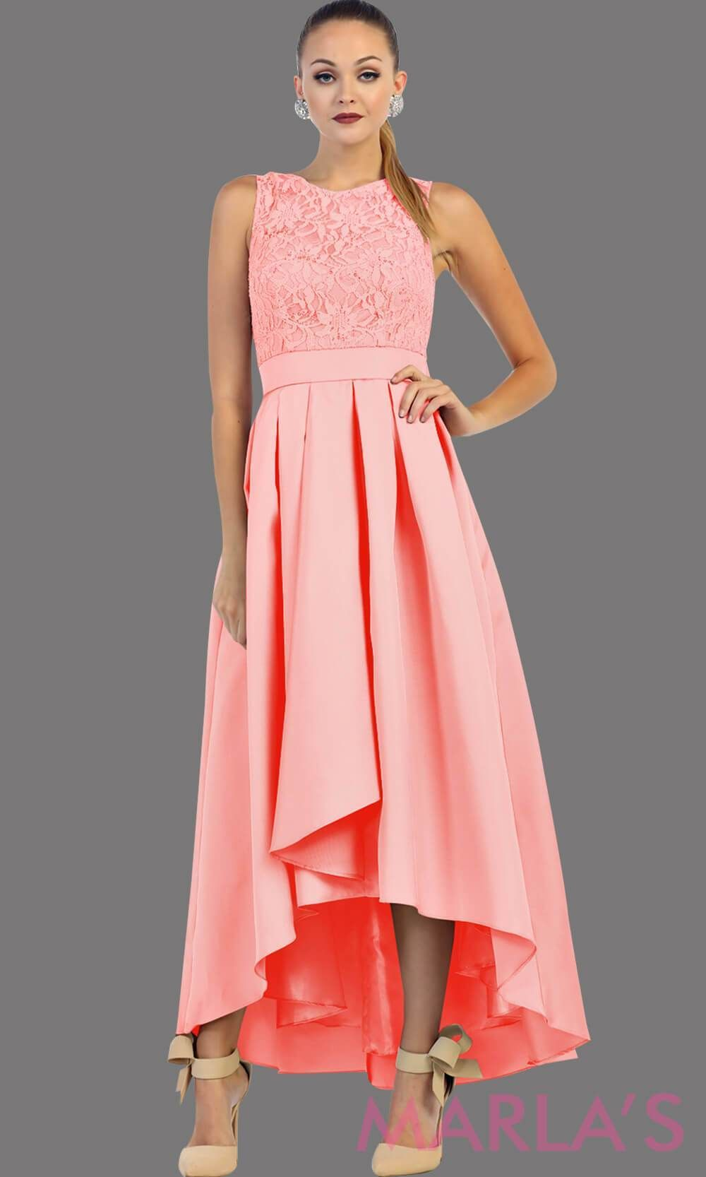 915364a0332 High low pink dress with lace bodice and satin skirt. This is a perfect  pink party dress for attending a wedding as a guest