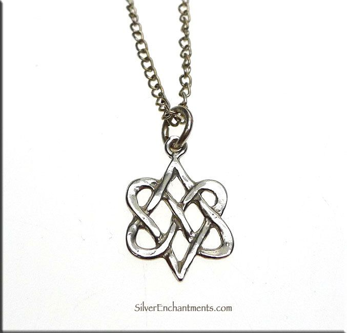 Celtic Double Heart Charm Necklace Sterling Silver Entwined Hearts