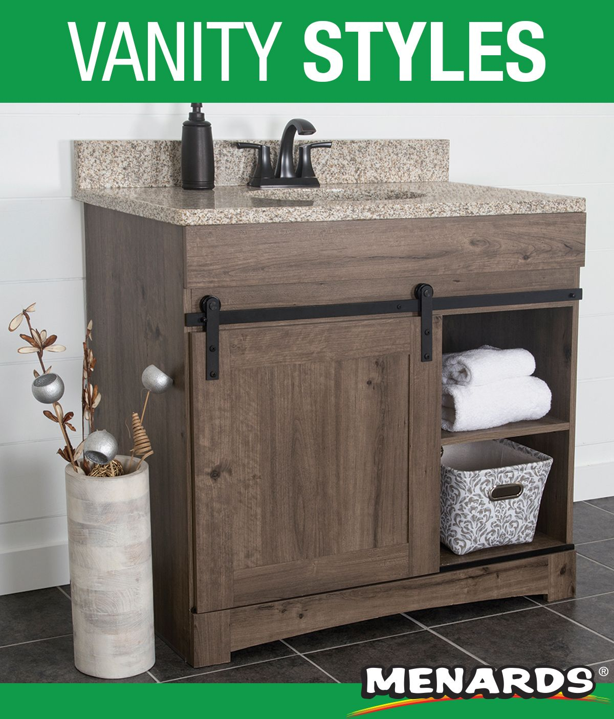 The Dakota Sliding Barn Door Vanity Makes For An Elegant And Functional Addition T Luxury Bathroom Vanities Small Bathroom Vanities Dream Bathroom Master Baths