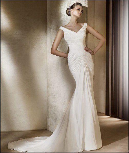 Off The Shoulder Wrinked Customer Made Design Mermaid Wedding Dress