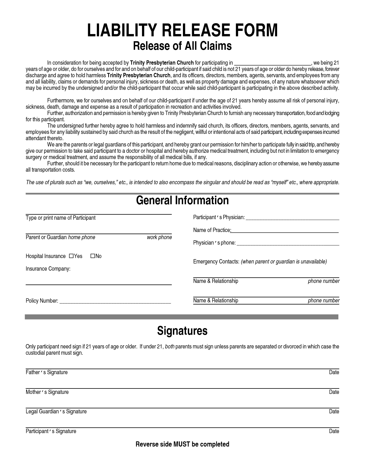 General Liability Waiver Form | General Liability Release Form ...