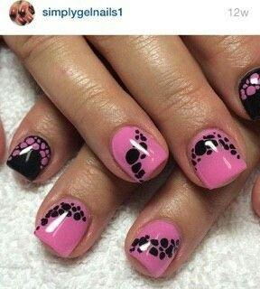 Cute pink and black nail art.  Nail innovationz gel nails