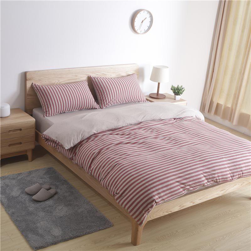 Bettwäscheset 4 Teilig Streifen Muster Baumwolle Japanische