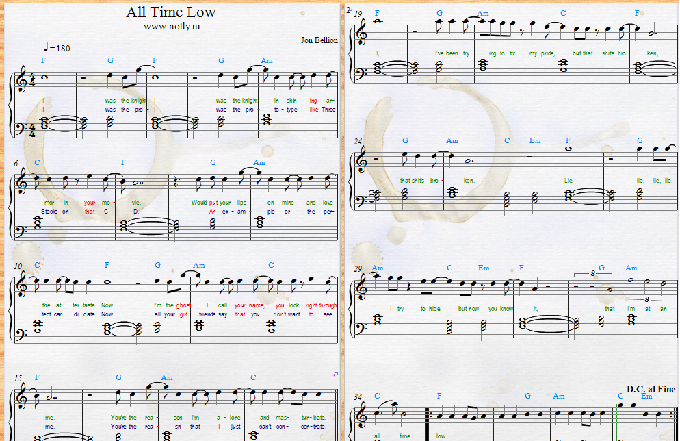 Piano piano bar songs sheet music : Jon Bellion — All Time Low Download PDF Piano Sheet Music | Piano ...