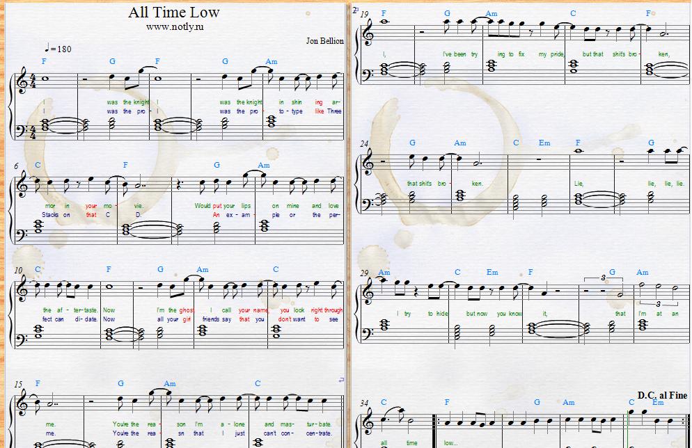 Jon Bellion — All Time Low Download PDF Piano Sheet Music