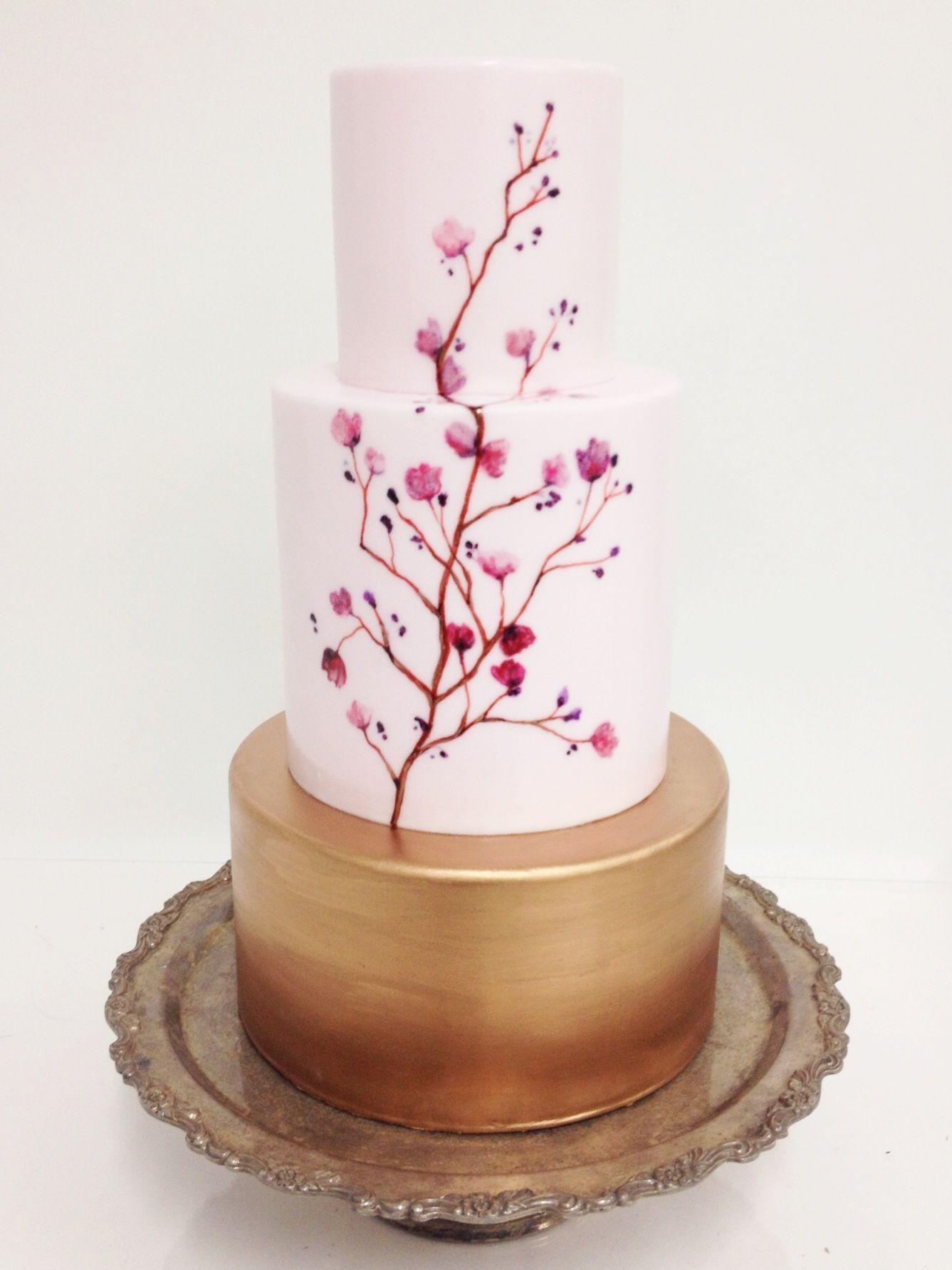 Wedding Cakes Cake Painted Cakes Cherry Blossom Cake