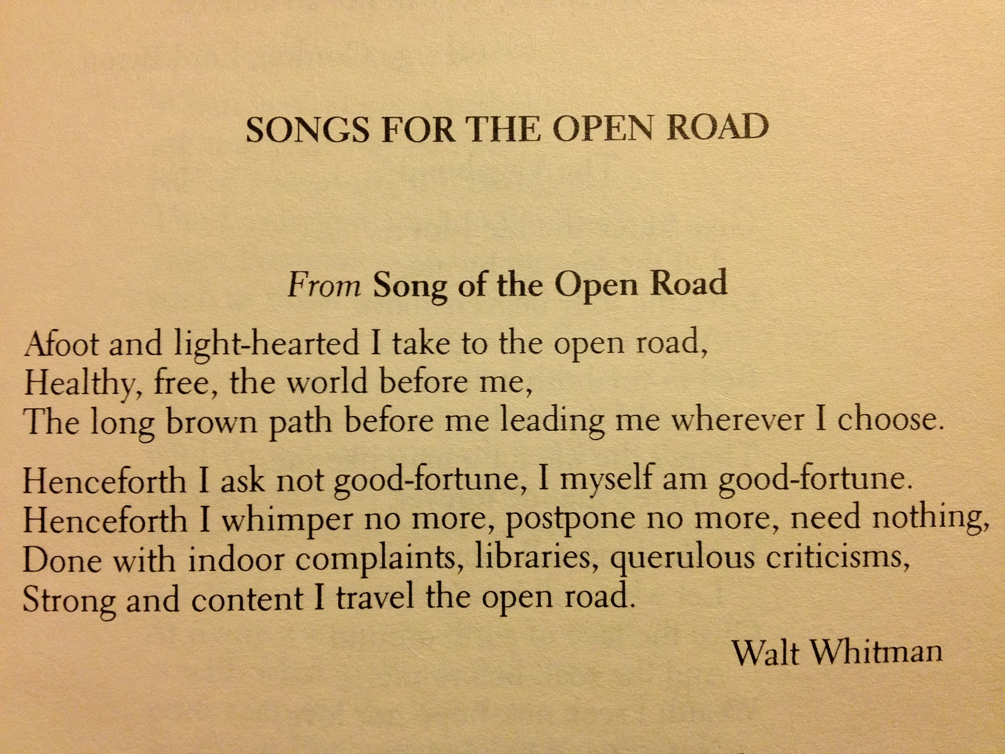 what is the poetic structure of song of the open road??