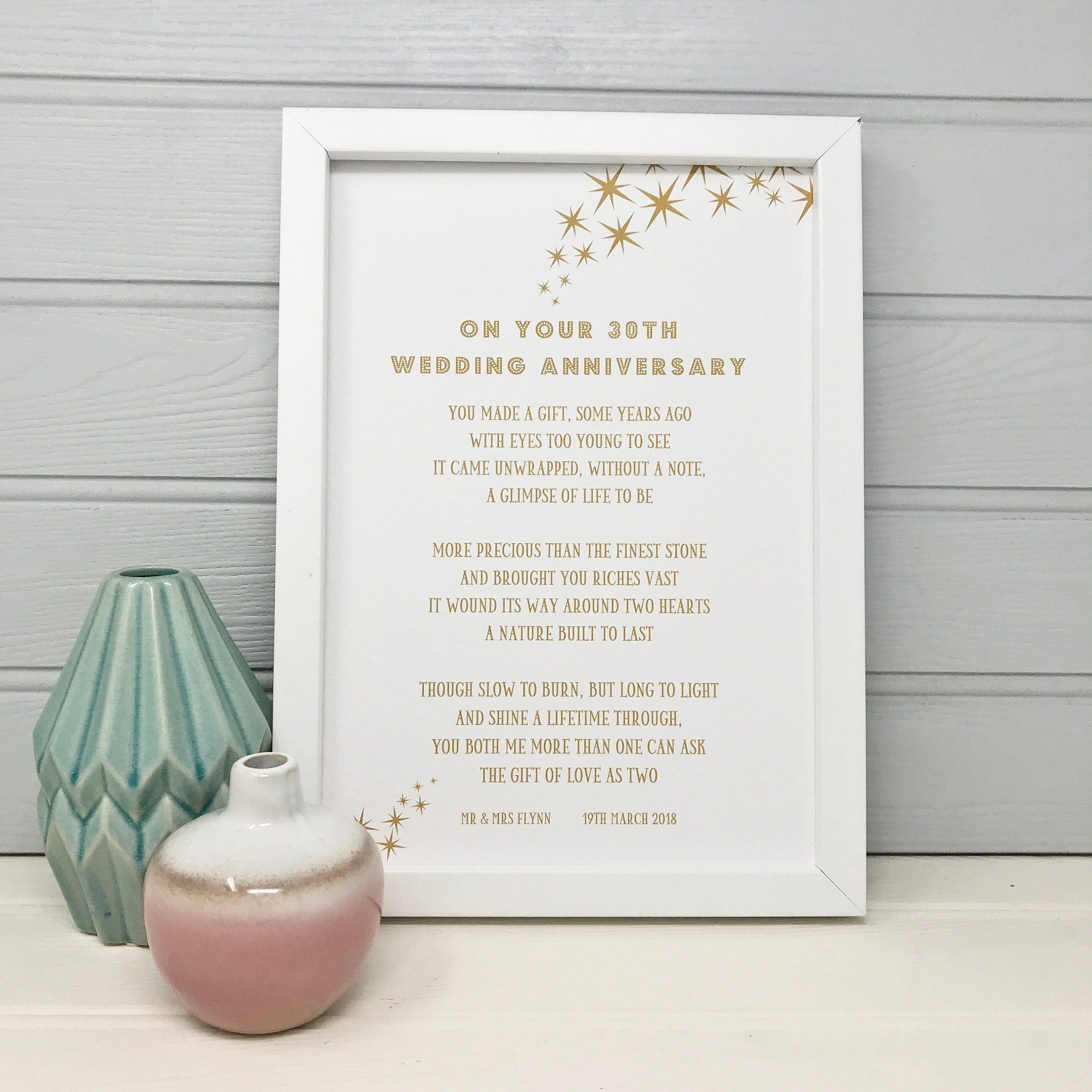 30th Anniversary Gift For Parents Gift For Couple Custom Gifts