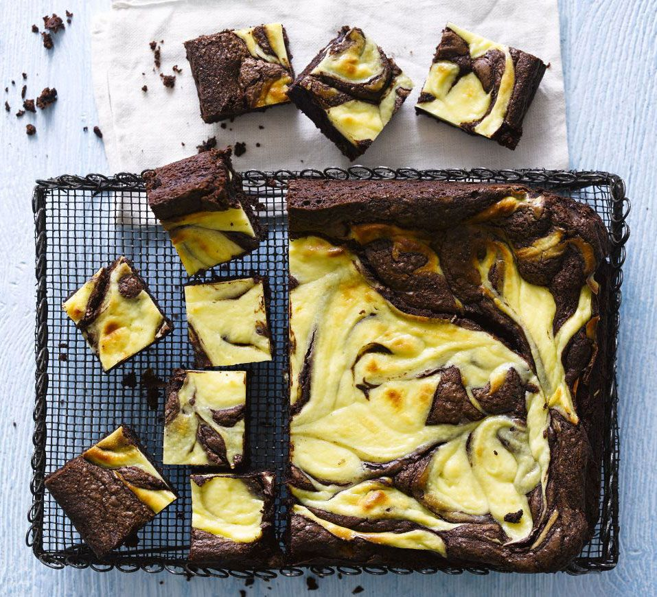 Improve the classic brownie with gooey chocolate batter topped with a creamy cheesecake mixture for a striking marbled effect