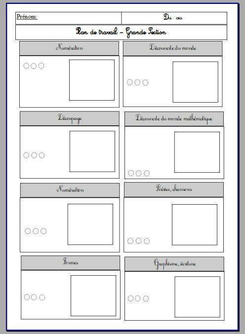 Berühmt Plan de travail individuel | Fiche pour maternelle | Pinterest  US69