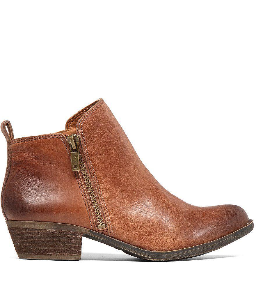 Basel Smooth Leather Zip Block Heel Booties ukxyoKh