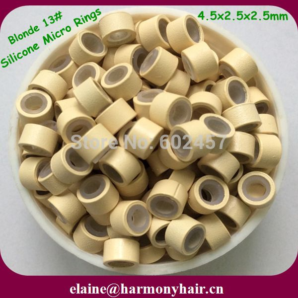 1000pcsbag 45mm Blonde Aluminum Silicone Lined Micro Rings For