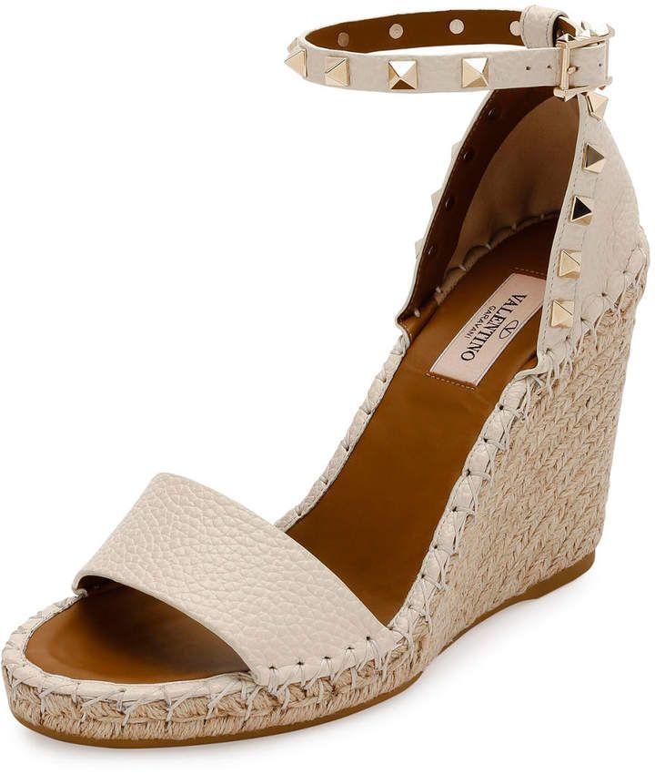 4641857b186 Valentino Garavani Rockstud Double Espadrille Wedge Sandals in 2019 ...