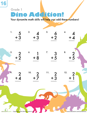 dinosaur addition worksheets and addition worksheets. Black Bedroom Furniture Sets. Home Design Ideas